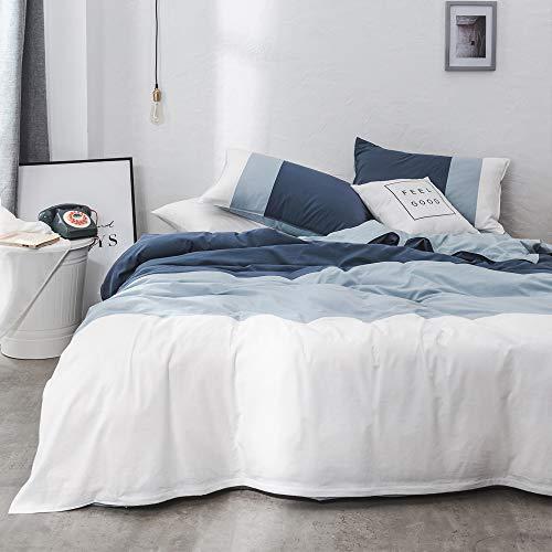 VM VOUGEMARKET Blue Stripe Duvet Cover Queen,3-Piece Washed Cotton Navy White Patchwork Ticking Stripe Home Bedding,Simple Modern Luxury Farmhouse Bedding Set