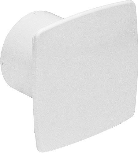 Design Badventilator hochglanz weiß Ø 100 mm mit Timer / Nachlauf und Rückstauklappe WNB100T Lüfter Ventilator Front Wandlüfter Badlüfter Ventilator Einbaulüfter Bad Küche leise 10 cm