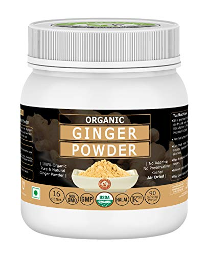 Organic Ginger Powder/ Sunth Powder - 16 Oz/1 lbs, USDA Certified I 100% Pure & Natural I To Cure Cold Symptoms I Used in the Kitchen to Add Flavor & Aroma I RAW,NO PRESERVATIVE, NON GMO