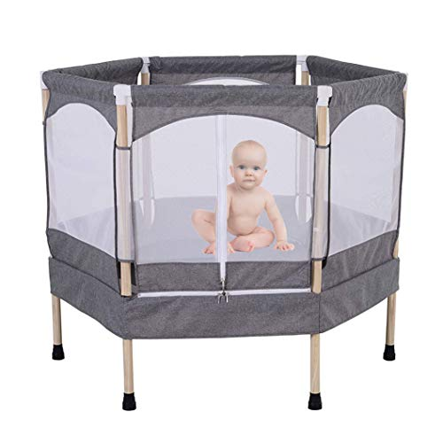 LXXTI 4ft Mini Trampoline with Enclosure Net, Kids Trampoline Indoor with Enclosure Net And Spring Cover Padding, Trampoline for Kids, Gray