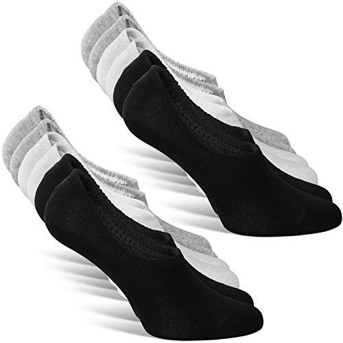 Classics ® Herren und Damen Unsichtbare Sneaker Socken (6er Pack) Großes Silikonpad Verhindert Verrutschen (2x Weiß + 2x Schwarz + 2x Grau, 39-42)