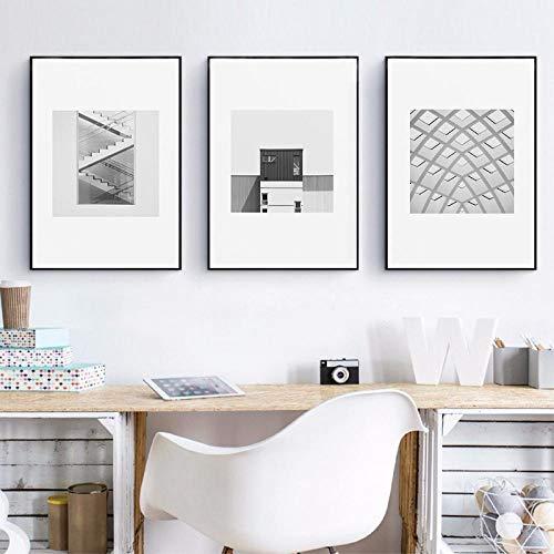 Arquitectura moderna carteles e impresiones arte de pared fotografía monocromo arte abstracto lienzo pintura cuadros de pared decoración de oficina 51x71cmx3 sin marco