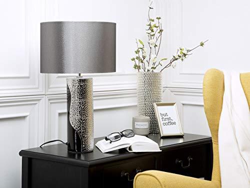 Beliani Tischlampe im Glamour Stil Kunstseide/Porzellan schwarz/Silber Aiken