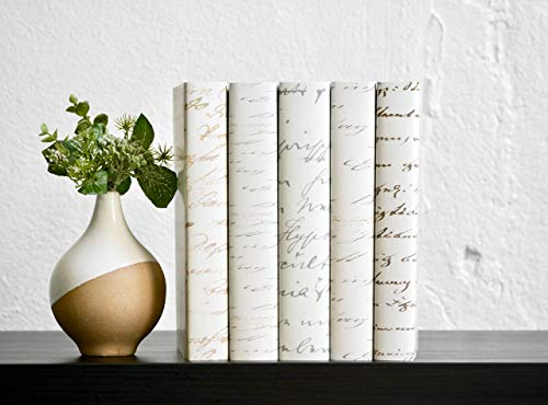 Vintage Script Decorative Books, Neutral Antique Script Books, Shabby Chic Book Home Decor, Decorative Book Stack