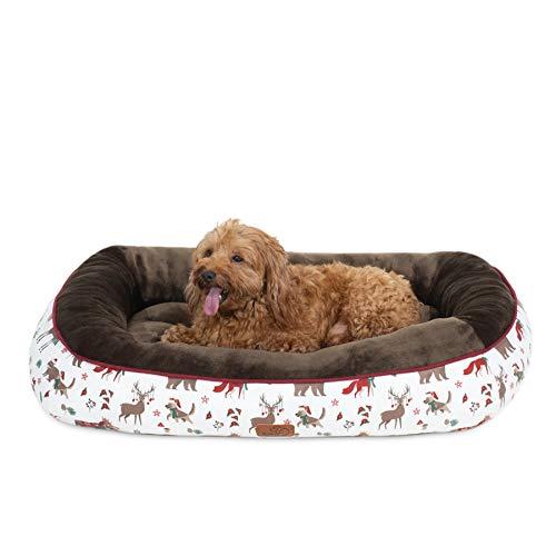 Bedsure Hundebett für kleine Hunde, Hundebetten niederige Ränder mit weiche Füllungen flauschig, auswählbar in Beige/Braun, Größe 81x58 cm, 18 cm hoch