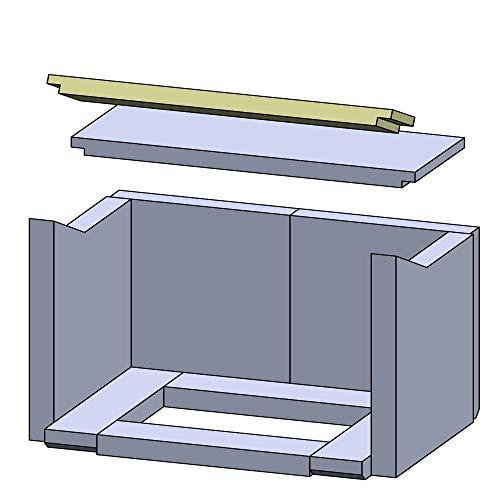 Flamado Feuerraumauskleidung Heizgasumlenkplatte geeignet für Vorne passend für Haas und Sohn Kamin Ersatzteile Kaminofen Brennraumauskleidung Schamotte 420 x 80 x 25 mm 1.350°C