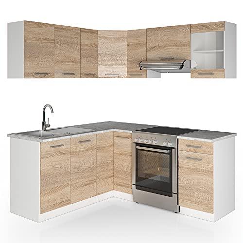 Cucina Vicco Cucina componibile ad L Blocco cucina Cucina su misura Cucina completa 167x187 cm Sonoma