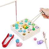 Juguetes Montessori Bebe Madera Peces Juguete de JuegodePesca Magnetico Infantil Juguetes Educativos Aprendizaje con Caña Pescar Preescolares Inteligencia Juegos Pescado para Niños Niña 2 3 4 Años
