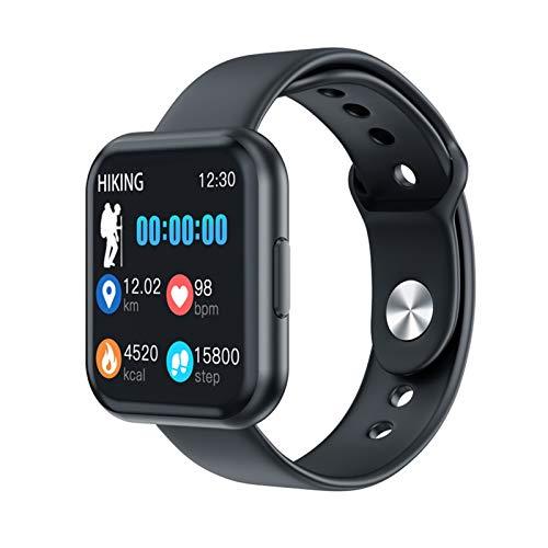 LXF JIAJU T88 Smart Watch Hombres Mujeres Detección De Ritmo Cardíaco Pedómetro Deportivo Pantalla Táctil Completa Bluetooth Smartwatch para iPhone Huawei Teléfono (Color : Black Silica Strap)