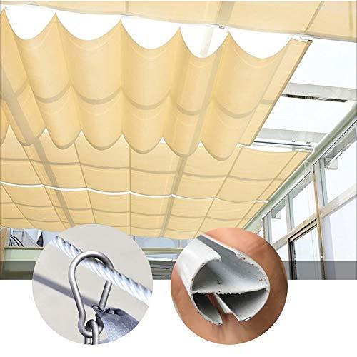 GDMING Vela De Sombra Techo Ola Pabellón Toldo 95% De Protección UV para Techo Al Aire Libre Conducción Cafetería Restaurante 2020 Versión Actualizada 410GSM Poliéster Más Grueso, 30 Tamaños