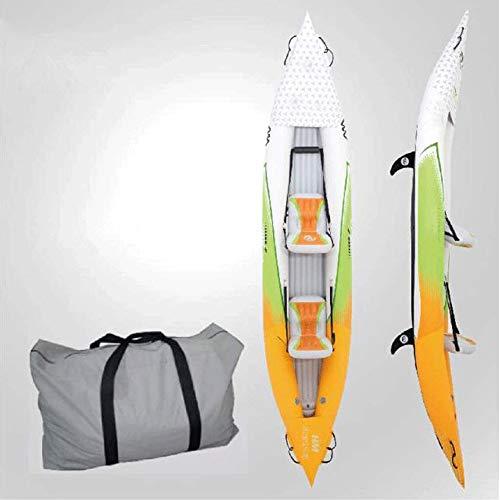 JNWEIYU Inflable tándem de Aguas bravas Kayak con Planta Alta presión y EVA Acolchados Asientos con Respaldo Alto textuales, Incluye Leva de la acción del Montaje, Aluminio paletas, Bomba y Más