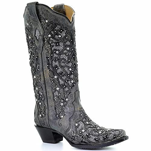 Damen-modischer Spitze Zehe Dicke Fersen-Cowgirl-Kurze Stiefel Mit Strasssteinen, Slip-on-bestickten Kessel-Western-Stiefel Mid-Boots (mehrfache Farbe)(Size:39,Color:EIN)
