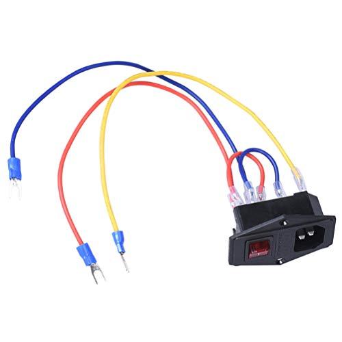 iplusmile Steckdose 15A 110 / 220V Ersatz Langlebiger Wippschalter mit Sicherung Netzschalter Steckdose 3D-Druckerteile für 3D-Drucker