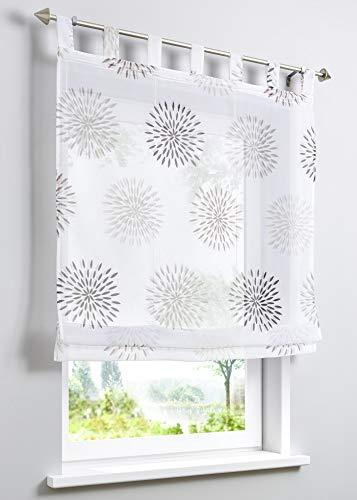 ESLIR Raffrollo mit Schlaufen Gardinen Küche Raffgardinen Transparent Schlaufenrollo Vorhänge Kreis-Motiven Modern Voile Braun BxH 120x140cm 1 Stück