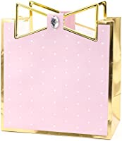 "Hallmark Signature 7"" Medium Gift Bag (Pink with Gold Border and Metallic Bow) for Mothers Day, Birthdays, Engagements,..."