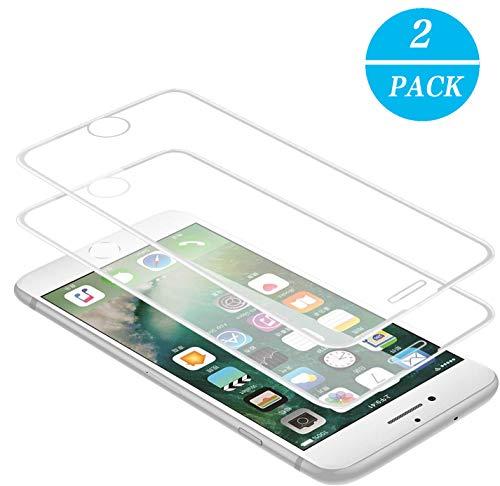 WEOFUN 3D Panzerglasfolie für iPhone 6/6s/7/8 [2 Stück] ,Panzerglas kompatibel mit iPhone 6,iPhone 6S,iPhone 7,iPhone 8 [ 9H Härte Displayschutz, Anti-Kratzen, Anti-Öl, Anti-Bläschen ] - Weiß