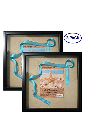"""12x12"""" Display Shadow Box Frame (2-pack) with Linen Background - Ready To Hang Shadowbox Picture Frame - Easy to Use - Box Display Frame, Baby and Sports Memorabilia, Uniforms, Medals, Pins, Wedding."""