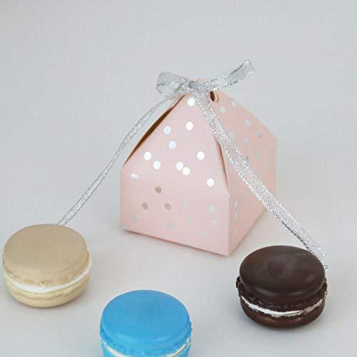 Piero 10Pcs Gold Bronzing Dot Souvenir Geschenkboxen Kleine Pappschachtel Papier Geschenkbox Verpackungsmaterial, Pink