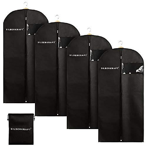 Silberkraft 4 x Kleidersack inkl. Schuhbeutel, hochwertige Mottenschutzhüllen, Aufbewahrung von Anzügen, Kleidern und Hemden, Schutz vor Motten (120 cm x 60 cm)