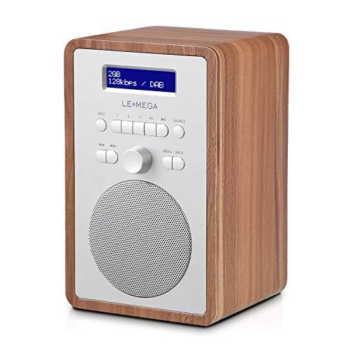 LEMEGA CR2 + Radio numérique Dab/Dab+/FM, boîte en Bois,Double Alarme et Horloge, Veille/répétition,20 Stations préréglées,Casque de Musique - Noyer