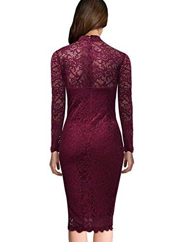 Miusol Damen Elegant Kleider Rundhals Knilanges Spitzenkleid Stretch Ballkleid Abendkleid - 3