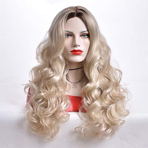 Etruke Perruque blonde ondulée pour femme blanche, longue perruque synthétique, résistante à la chaleur, cheveux européens et américains, 61 cm