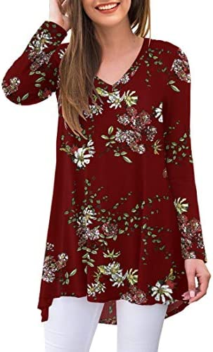 AWULIFFAN Womens Casual Floral Long Sleeve V Neck T Shirts Blouses Tops Flower Wine Red X Large product image