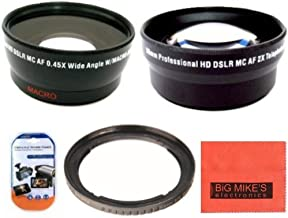 58mm 2X Telephoto Lens + 58mm Wide Angle Lens with Macro for Canon G1X Mark 2 Digital Camera + Filter Adapter + More!!