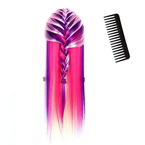 Entrenamiento de peluquería suave y sedoso, Maniquí de cabello, Tienda de(No. 1 pink + multicolor)
