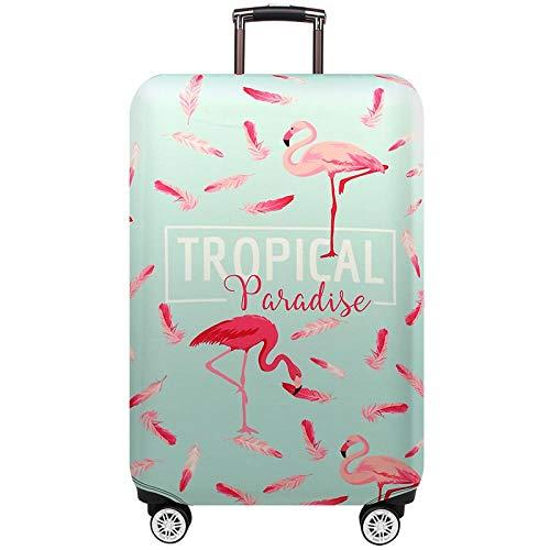 Elastisch Kofferhülle Kofferschutzhülle Verdickende Kofferschutz Tropischer Flamingo Koffer Abdeckung Schutzbezug Luggage Cover Reisekoffer Hülle für 18-32 Zoll Koffer mit Reißverschluss L(25