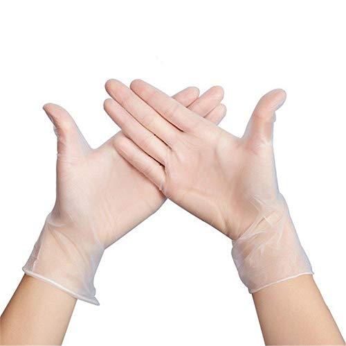 Uteruik Transparente Einweghandschuhe aus PVC, transparente Folie, elastische Handschuhe für Backen, Schönheit, Geschirrspülen, Salon-Haarfarbe, 100 Stück, M