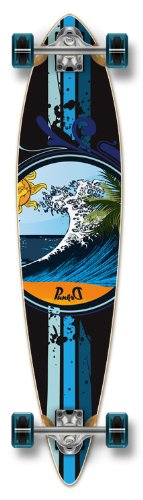 """Yocaher Blank & Graphic Complete Longboard Pintail Skateboard w/ 71mm Wheels, Wave, 40"""" X 9"""""""