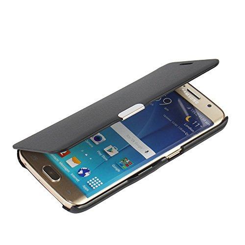 MTRONX für Samsung Galaxy S6 Edge Hülle, Hülle Cover Schutzhülle Tasche Etui Klapphülle Magnetisch Dünn Leder Folio Flip für Samsung Galaxy S6 Edge - Schwarz(MG-BK)