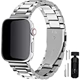 Fullmosa Acero Inoxidable Correa Compatible Apple Watch/iWatch Serie SE, Serie 6, Serie 5, Serie 4, Serie 3, Serie 2, Serie 1, Apple Watch Correa 38mm 40mm 42mm 44mm, Plata 42mm/44mm