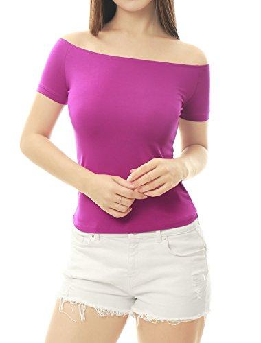 Allegra K Women's Short Sleeves Off The Shoulder Solid Crop Top Small Violet