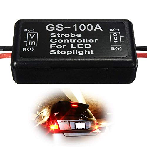 iJDMTOY (1) 12V GS-100A LED Brake Stop Light Strobe Flash Module Controller Box Compatible With Car Truck Third or High Mount Brake Light Retrofit