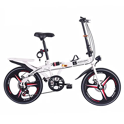 MIAOYO 16/20 Inch PORTABLE Folding Bike, Shock-absorbing Disc Brake Commuter Road Bike For Adult, 6 Speed Variable Speed Foldable City Bicycle Bike,White,20'