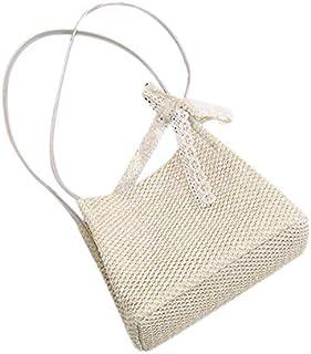 SODIAL Women Handbag Summer Fresh Feminine Woven Bucket Bag Handmade Grass Casual Tote Knitted Rattan Bags Beach Bag Beige Large