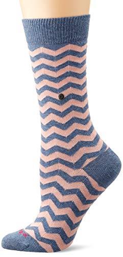 Burlington Damen Zig Zag Stripe Socken, blau (Light Jeans 6662), Einheitsgröße (DE 36-41)
