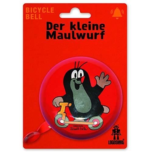 Logoshirt - Der kleine Maulwurf - Roller - Retro Fahrradklingel Groß - aus massivem Stahl - Rot - Lizenziertes Original Design