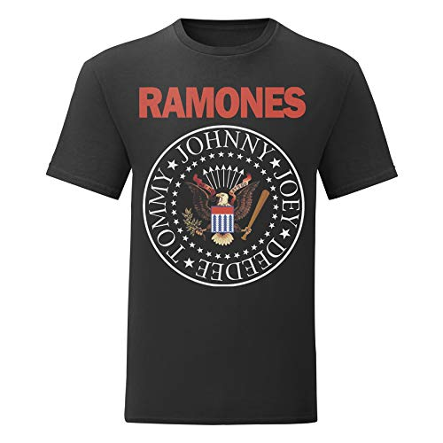 LaMAGLIERIA Camiseta Hombre Ramones - Classic 2 Colors Logo t-Shirt Punk Rock Band 100% algodòn, XL, Negro