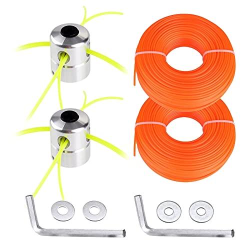 CDIYTOOL Tête de débroussailleuse universelle en alliage avec bobines en nylon, lot de 2 têtes de débroussailleuse en alliage d'aluminium avec lignes de 15 m