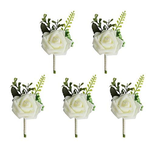 joyMerit 5X Rose Flower Broche Boda Boutonniere Ramillete para El Novio Padrinos De Boda Novia