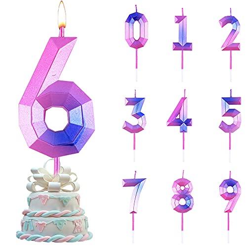 Candele di Compleanno Numbero,Numero Candele di Compleanno Glitter,Candele Torta Compleanno, per Feste di Anniversario di Matrimonio, Serate di Laurea (6)