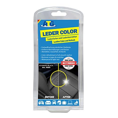 ATG Autozubehör-Teile-Gerl Lederfarbe schwarz Sofa | Lederaufbereiter | Ledercolor | entfernt Kratzer auf Ledercouch | Lederfärbe Set Autositze mit Schwamm und Pinsel