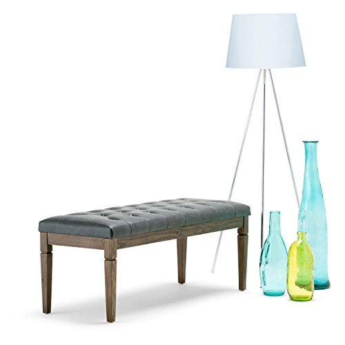 SIMPLIHOME Waverly 48 inch Wide Rectangle Ottoman Bench Slate Grey Tufted Footrest Stool, Faux Leather for Living Room, Bedroom, Traditional