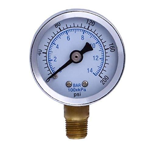"""linjunddd 1/8"""" 200 PSI Manometer Kraftstoff-Luftverdichter Meter Hydraulikdrucktester Doppelskala Druckmesser für Kraftstoff Luft Öl Flüssig Industriellen Instrument"""