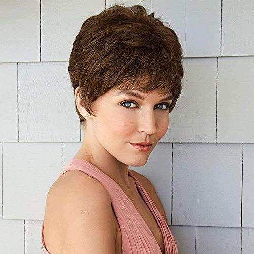 Pelucas de Pelo sintético de Pixie Corto Cortadas para Mujer Brown Lindo Pixie Pelucas Medio Marrón Marrón BJY969