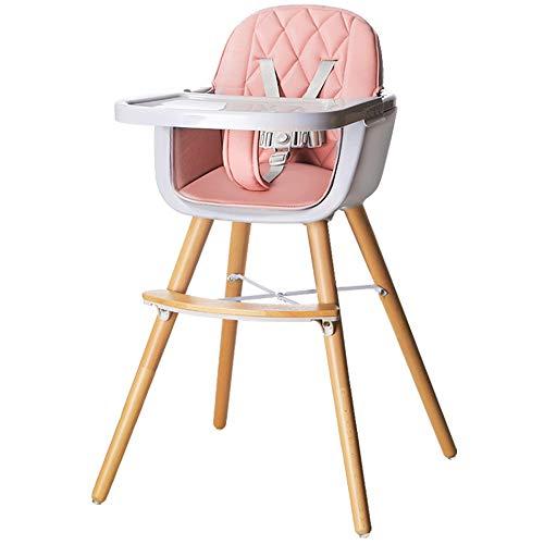 Trona para bebé, silla de alimentación de madera con arnés de asiento de 5 puntos, patas ajustables, bandeja desmontable, cojín cómodo, para bebés, niños pequeños, niños (Pink)