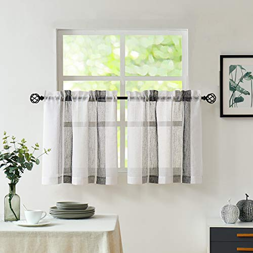 "Central Park Black and White Kitchen Window Curtain Tiers Vertical Stripe Sheer Boucle Linen Window Curtain, Living Room Decorative Rod Pocket Rustic Living 2 Panels (28"" x 24"")"